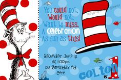 The Cat in the Hat Birthday Party Invitation Dr by Classeighinks, $1.20