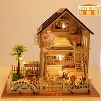 Wish   Diy Wooden Doll House With Furniture ,Light Model Building Kits 3D Miniature Dollhouse Puzzle Dolls Toy Gifts-My little House home decoration (Color: Multicolor)