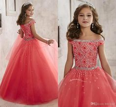 Little Girls Pageant Dresses Wear 2016 New Off Shoulder Crystal Beads Coral Tulle Formal Party Dress For Teen Kids Flowers Girls Gowns A1796 Little Girls Short Pageant Dresses Natural Beauty Pageant Dresses From Hot Wind, $82.15| Dhgate.Com