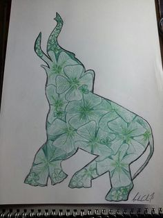 another tattoo commission that had to combine elephants and 4 leaf clover