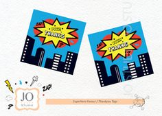 Superhero Themed Favour Tags / Thankyou by JoStudioPartyPaperie / Complete Printable Collection for a Superhero Birthday Party / Kids Party / Kapow / Kids Parties / Stationery / Jo Studio / Red Blue And Yellow / Printables by Jo Studio
