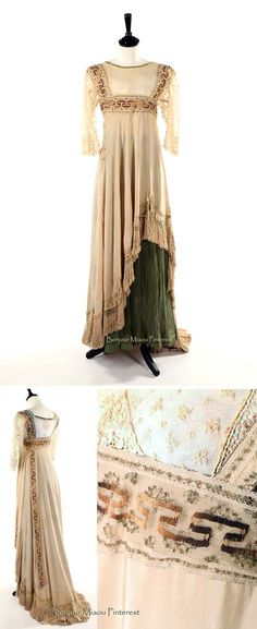 Circa 1912 ivory silk crepe overdress with Greek key embroidery and green tree bark crepe skirt. Kerry Taylor Auctions