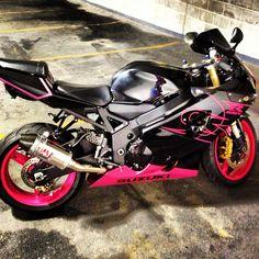 Shiny pink motorcycle