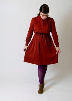Great for Fall- Vintage 1970s Burnt Orange Robe Dress on Etsy, $40.00