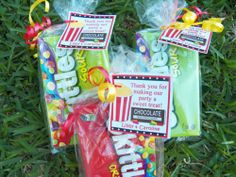 Persoanlized movie party favor tags - popcorn and candy
