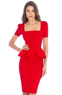 DR508A_front Square Necklines, Peplum Dress, Manga, Dresses, Fashion, Outfits, Vestidos, Fiestas, Moda