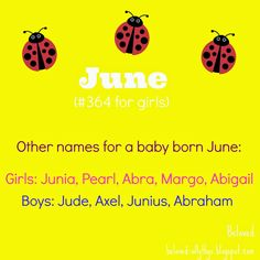 Calendar Names Month And Season Names June June Is Adorable I