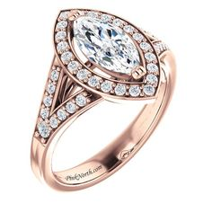 Rose Gold Marquise Cut Halo Split Shank Ring - PN106r-1