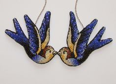 swallows necklace. tattoo-inspired bead embroidery