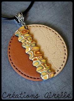 Polymer clay | faux leather pendant