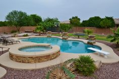 Yard Ideas: Nice Yard to play in. Diving Pool, Spa, with fountains; Sunk-in Trampoline, and Basketball court. Sunken Trampoline, Backyard Trampoline, Pergola Designs, Pool Designs, Kidney Shaped Pool, Diving Pool, Outdoor Fun, Outdoor Decor, Outdoor Living