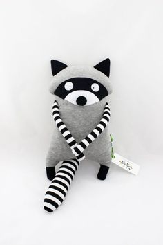 Raton Laveur Jouet Peluche Doudou fait main- Raton Laveur Jouet Peluche Doudou fait main Raccoon Dog Toy Plush Blanket from … - Handmade Soft Toys, Selling Handmade Items, Pet Toys, Baby Toys, Diy Bebe, Fabric Toys, Baby Sewing Projects, Racoon, Sewing Toys