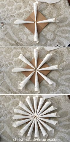Rolled Book Page Wreath - Christinas Adventures - would be a great Christmas tree topper! Old Book Crafts, Book Page Crafts, Paper Crafts For Kids, Crafts To Make, Wrapping Paper Crafts, Paper Crafting, Corona Floral, Paper Christmas Decorations, Book Page Wreath