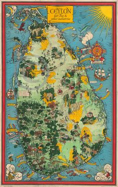 This is a map Sri Lanka, known as British Ceylon at the time. The map is illustrated with beautiful icons for tea and agriculture. The map is printed in heavy stock Epson paper. This is a giclee print on semi-matte paper. It is intended to be framed, rather than hung up as a poster. We use semi-matte paper with a slight sheen as this showcases the most detail from the map. This is modern day reprint. 12060000