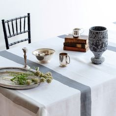 White Pure Linen Tablecloth with Stripes in Charcoal, Silver, Grey, Ivory and Concrete - Huddleson - Contemporary Fine Linens