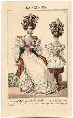 "shewhoworshipscarlin: "" Evening dress fashion plate, 1827, France. """