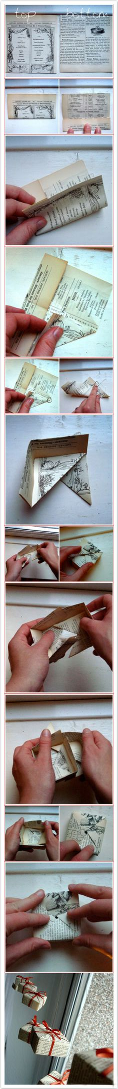 Step by step guide to creating Christmas present ornaments using recycled paper and ribbon. A little origami, a little folding for a cute result.