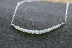Gemstone Necklace, Pendant Necklace, Natural Blue Diamond, Diamond Quartz, October Birth Stone, Opal Gemstone, Sterling Silver Chains, Necklace Lengths, Jewelry Gifts