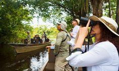 Enjoy a 3,4 or 7 night Amazon River luxury cruise on the Aria Amazon custom-designed cruiseship to the Pacaya Samiria National Reserve with Aqua Expeditions.