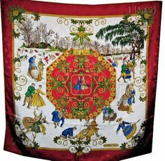 Joies d'Hiver aka Joys of Winter artist Joachim Metz. A rare Hermes scarf with jacquard fabric.