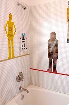 LADRILHO DAS GALÁXIAS   que tal montar um mosaico dos personagens da saga com os ladrilhos do banheiro?  #TecnisaDecor #StarWars #StarWarsDay #Inspire-se #Tecnisa Foto: Eximiner