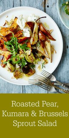 A roasted salad recipe perfect for fall featuring pear and Brussels sprouts.