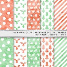 Christmas Watercolour Digital Printable Paper Pack / INSTANT DOWNLOAD / 10 Digital Papers / Printable Pastel Christmas Patterns by AzmariDigitals
