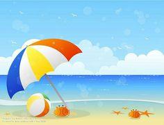 Blissful Summer Vector illustraitons of Summer Scene Vector Beach Beach Umbrella beach ball and Crabs 3 - Beach Ball - Ideas of Beach Ball Summer Scenes, Beach Scenes, Beach Images, Beach Pictures, Umbrella Cartoon, Art Plage, Beach Mural, Beach Backdrop, Beach Illustration