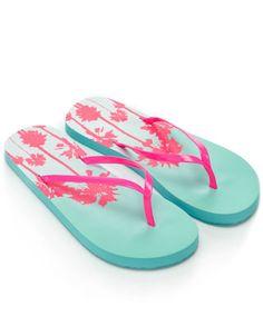 Pink and blue flip flops