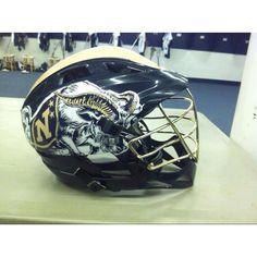 Navy lacrosse helmet.