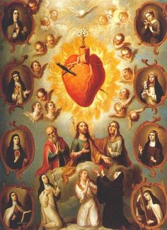 Allegory of the Immaculate Heart of Mary Surrounded by Various Female Saints by Patricio Morlette On the left: St. Teresa de Jesus On. Cross Pictures, Jesus Pictures, Religious Images, Religious Art, Jesus E Maria, Colonial Art, Christian Artwork, Christ The King, Christian Symbols