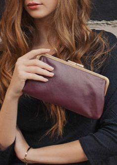 Burgundy Leather Clutch / Evening Bag