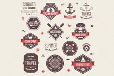 Vintage labels set #compass #nauticalclipart