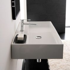 Scarabeo 8031R80 Supported or Wall Mounted Ceramic Washbasin with Overflow