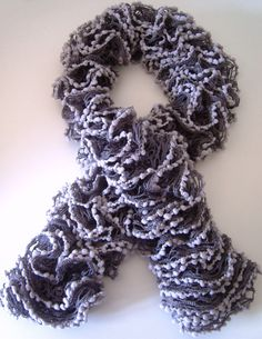 "Dark gray hand-made scarf with light gray ""fringes"", 100% acrylic, 110 x 9 cm"