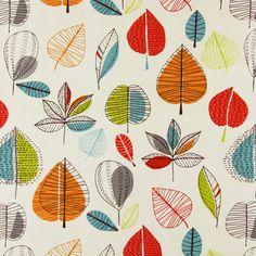 Maple 4 - arancione - Tessuti arredo con piante - Tessuti arredo retrò - Prestigious Textiles - tessuti.com