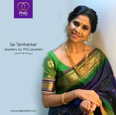 Jewellery has the power to be this one little thing that can make you feel unique, because jewellery always fit! Here's the gorgeous Sai Tamhankar, flaunting jewellery designed by PNG Jewellers. Marathi Saree, Marathi Bride, Trendy Sarees, Stylish Sarees, Bridal Jewellery Inspiration, Saree Jewellery, Nauvari Saree, Gold Mangalsutra Designs, Saree Poses