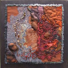 """textile beaded felt brooches (3"""" long)         """"silver birch"""" layers of calico with silk and stitch (8""""x8"""")         nu..."""
