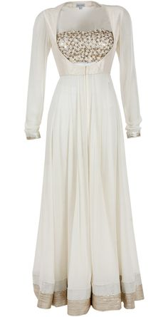 Ivory anarkali with embellished bustier available only at Pernia's Pop-Up Shop.