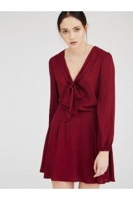 UNIQUE21 MACAW BURGUNDY WINE PUSSY BOW SKATER MINI DRESS IN A SUPER SOFT FLOWY FABRIC WITH A CONCEALED ZIP AND BUTTON BACK CLOSURE