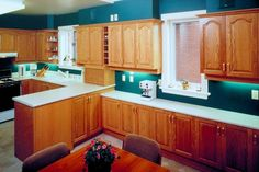 Golden oak cabinets are prized for their rich golden color that matches a variety of interiors, and they are a feature in many kitchens. Over time, golden oak cabinets can wear or discolor. Oak is a . Light Oak Cabinets, Honey Oak Cabinets, Shaker Cabinets, Wood Cabinets, Refurbished Cabinets, Bathroom Cabinets, Restaining Kitchen Cabinets, Green Kitchen Cabinets, How To Restain Cabinets