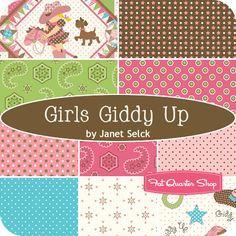 Girls Giddy Up Fat Quarter Bundle Janet Selck for Northcott Fabrics - Fat Quarter Shop