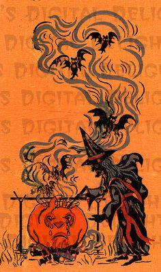 Vintage Halloween Cards | ... , Cauldron, Bats. HALLOWEEN Digital Download. VINTAGE Illustration