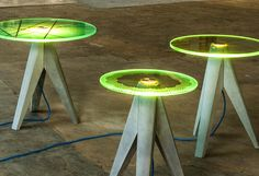 Illuminating Glass Furniture - The Holy Tristan Side Table by Michael Neubauer Glows Futuristically (GALLERY) Glass Furniture, Furniture Styles, Diy Furniture, Modern Furniture, Furniture Design, Table Beton, Concrete Table, Concrete Design, Neon Crafts