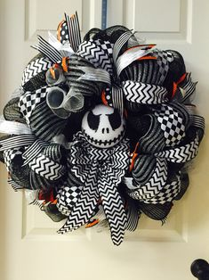jack skellington halloween deco mesh wreath wwwfacebookcomdddecor - Halloween Deco