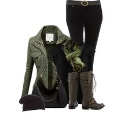 A fashion look from November 2014 featuring print tee, black skinny jeans and army boots. Browse and shop related looks.