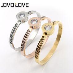 76e26b82fde0 Fashion Brand Jewelry Bangle Stainless Steel Zircon Crystal Stone Bangle  with Chain Women Gift Pulseras De