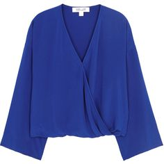 Diane Von Furstenberg Cobalt Wrap-effect Silk Top - Size L ($245) ❤ liked on Polyvore featuring tops, drapey tops, draped tops, blue silk top, draped wrap top and wrap around top