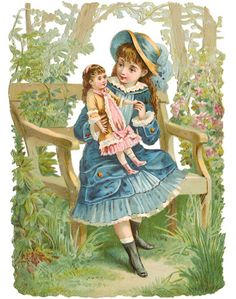 Vintage victorian scrap of a girl and her doll Éphémères Vintage, Clip Art Vintage, Vintage Labels, Vintage Ephemera, Vintage Girls, Vintage Children, Vintage Postcards, Vintage Prints, Vintage Pictures