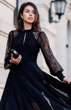 Street Style ~ EXPRESS Edition lace insert maxi dress.